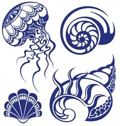 Set of jellyfish and various sea shells vector image vector image