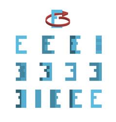 Sheet of sprites rotation of cartoon 3d letter e vector