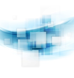 Shiny blue tech background with squares and waves vector