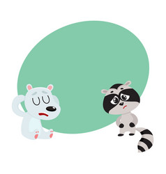 Sick raccoon and bear having headache suffering vector