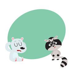 sick raccoon and bear having headache suffering vector image