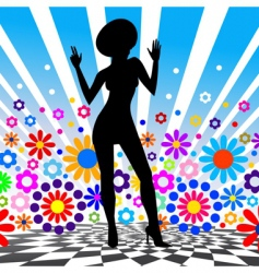 Silhouette of dancing girl vector