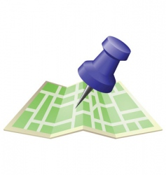 street map with drawing pin vector image vector image