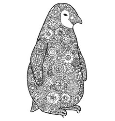 tangle pattern and penguin vector image