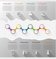 Timeline infographic with torn paper vector image vector image