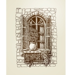 Window with wooden shutters vintage sketch vector