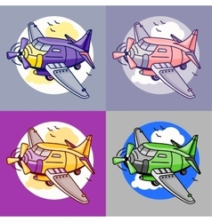 Cartoon set of airliner planes in different colors vector