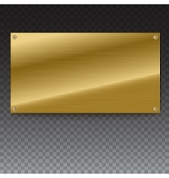Shiny brushed metal gold yellow plate banners on vector image