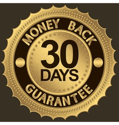 30 days gold money back guarantee label vector