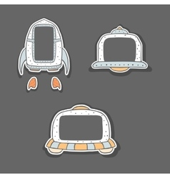 Hand drawn childish frames - spaceship and ufo vector