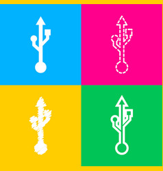 usb sign four styles of icon on four vector image