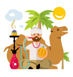 Arabic man with hookah flat style colorful vector