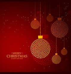 Red background made with golden christmas balls vector