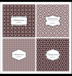 Sepia color seamless patterns with frames vector