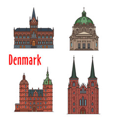 Travel landmark of kingdom of denmark icon set vector