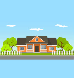 Cottage house landscape vector
