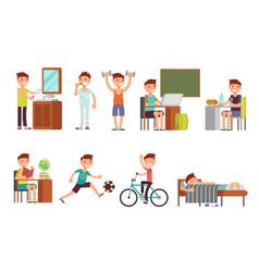 Child boy daily routine set vector