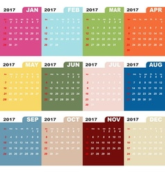 2017 calendar template color folder vector