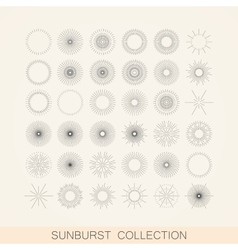 Set of geometric sunburst and light ray shapes vector