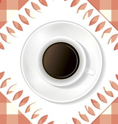 White cup of coffee on the table vector