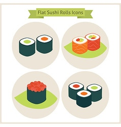 Flat sushi rolls circle icons set vector
