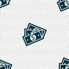 Us dollar icon sign seamless pattern with vector