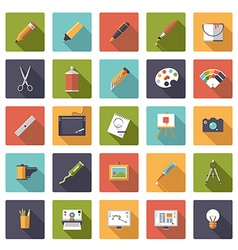 Art and design flat icon collection vector