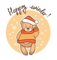 Happy winter greeting card vector
