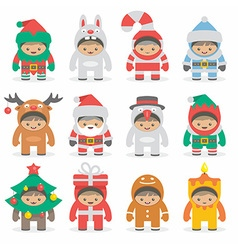 Christmas costumes kids vector