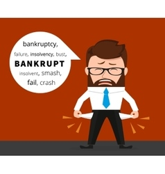 Sad business man crying because of bankruptcy vector