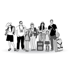 Group tourists people gray scale isolate on white vector