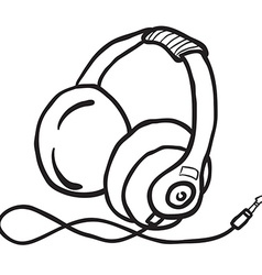 Simple black and white earphones vector