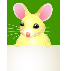 Mouse holding a blank sign vector