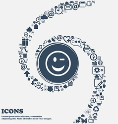 Winking face icon sign in the center around the vector