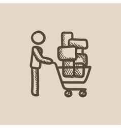 Man pushing shopping cart sketch icon vector
