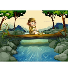 A girl sitting at the wood vector image