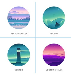 Abstract logo design templates with gradient vector