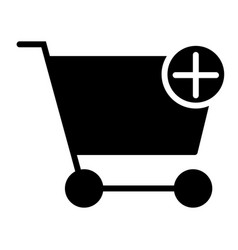 add items to shopping cart silhouette icon vector image