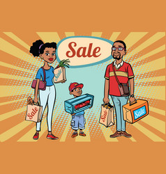 african family dad mom and son with shopping on vector image vector image
