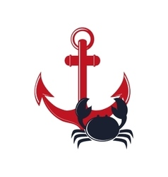 anchor and crab icon vector image