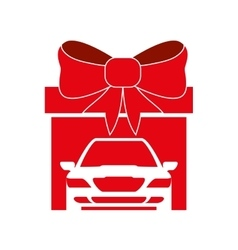 Big gift car red bow design vector