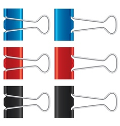 Binder clips set Paper clips collection vector image