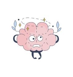Brain feeling dizzy comic character representing vector