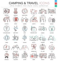 Camping nature adventure ultra modern color vector