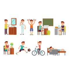 child boy daily routine set vector image vector image