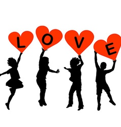 Children silhouettes with heart shaped banners vector image