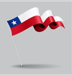 chilean pin wavy flag vector image vector image
