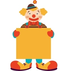 Clown with blank board isolated on white vector