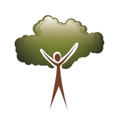 Colorful tree trunk human with foliage shape cloud vector