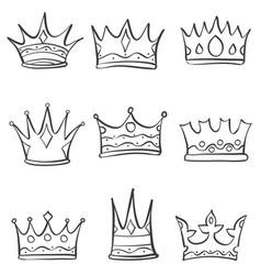 Crown sketch various doodle set vector